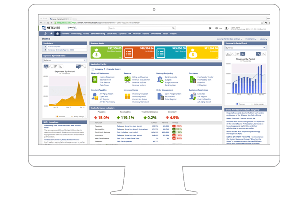User customized dashboards for Netsuite document management