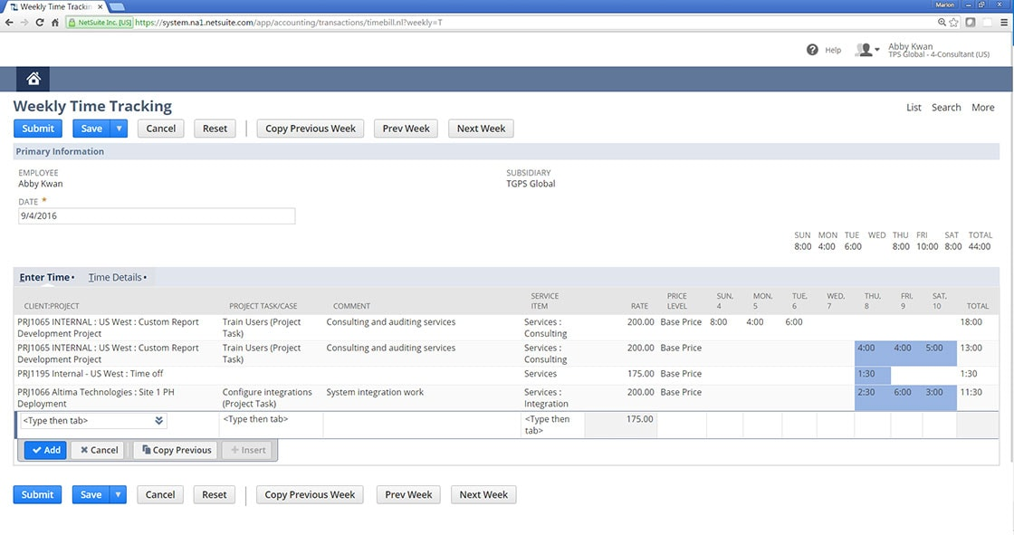 timesheet time tracking timesheet software netsuite
